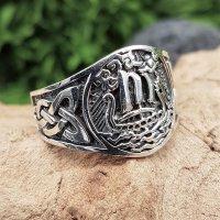 Wikinger Drachenschiff Ring aus 925 Sterling Silber