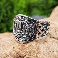 Wikinger Drachenschiff Ring aus 925 Sterling Silber 59 (18,8) / 8,7 US
