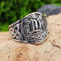 Wikinger Drachenschiff Ring aus 925 Sterling Silber 70 (22,3) / 12,9 US