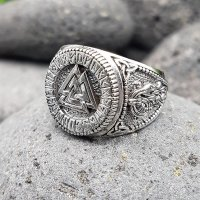 Valknut Ring verziert mit Runen und der Midgardschlange aus 925 Sterling Silber 59 (18,8) / 8,7 US