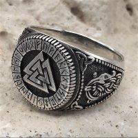 Valknut Ring verziert mit Runen und der Midgardschlange aus 925 Sterling Silber 64 (20,4) / 10,7 US