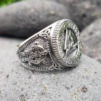 Valknut Ring verziert mit Runen und der Midgardschlange aus 925 Sterling Silber 70 (22,3) / 12,9 US
