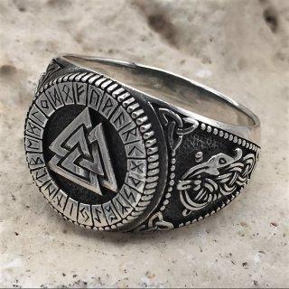 Valknut Ring verziert mit Runen und der Midgardschlange aus 925 Sterling Silber 74 (23,4) / 14,6 US
