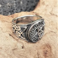 Pentagramm Ring verziert mit Runen und keltische Knoten aus 925 Sterling Silber