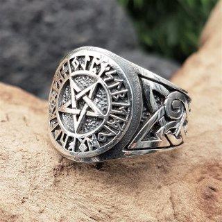 Pentagramm Ring verziert mit Runen und keltische Knoten aus 925 Sterling Silber 56 (17,8) / 7,6 US