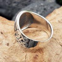 Pentagramm Ring verziert mit Runen und keltische Knoten aus 925 Sterling Silber 62 (19,7) / 9,9 US