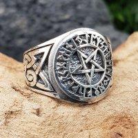 Pentagramm Ring verziert mit Runen und keltische Knoten aus 925 Sterling Silber 70 (22,3) / 12,9 US