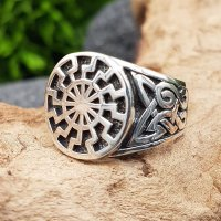 Schwarze Sonne Ring aus 925 Sterling Silber 62 (19,7) / 9,9 US