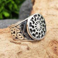 Schwarze Sonne Ring aus 925 Sterling Silber 67 (21,3) / 11,8 US