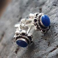 Keltische Ohrstecker mit blauem Stein aus 925er Sterling...