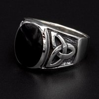 "Onyx Wikinger Ring ""Lokis black Soul"" aus 925..."