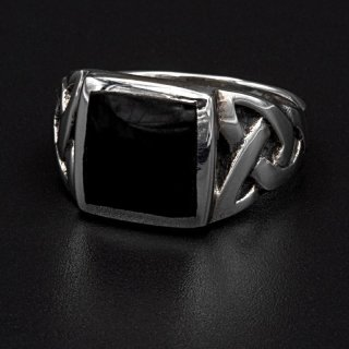 Onyx Wikinger Ring Hels Dominance aus 925 Sterling Silber 57 (18,5) / 8 US