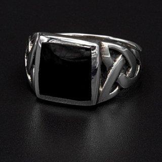 "Onyx Wikinger Ring ""Hels Dominance"" aus 925 Sterling Silber 72 (23,0) / 14 US"