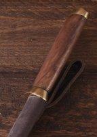 Kurzsax aus Damaststahl mit brauner Lederscheide