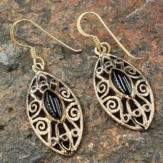 """Mittelalterschmuck Ohrhänger """"AEDAIRA"""" aus Bronze mit Onyx"""
