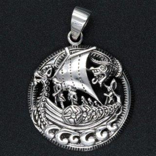 925er Sterling Silberamulett - Wikingerschiff