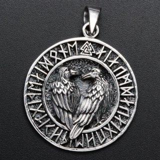Runenkreis Anhänger mit Hugin und Munin - 925 Sterling Silber