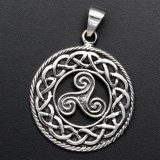 Triskele Schmuckanhänger mit Unendlichem Knoten - 925 Sterling Silber