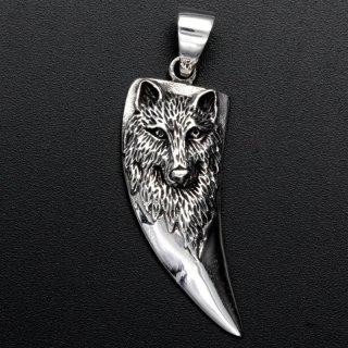 Zahn Anhänger mit Wolfskopf - 925 Sterling Silber