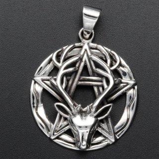 Pentagramm Anhänger mit Hirschkopf aus 925er Sterling Silber