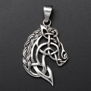 """""""Kopf des Sleipnir"""" mit keltischen Knoten aus 925er Sterling Silber"""