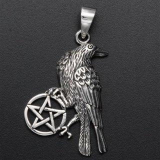 """Schmuckanhänger """"MUNINN""""  mit Pentagramm aus 925er Sterling Silber"""