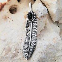 Silberanhänger Feder mit einem Onyx-Stein...