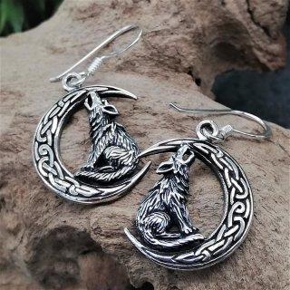 Wolf auf keltischem Mond Ohrhänger aus 925er Sterling Silber