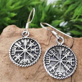 Silberohrschmuck Wikinger Kompass Vegvisir aus 925er Sterling Silber