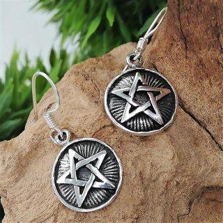 """Silberohrschmuck Pentagramm """"HEL"""" aus 925er Sterling Silber"""