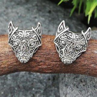 """Silberohrstecker nordischer Wolf """"Fenris"""" aus 925er Sterling Silber"""