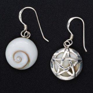 Silberohrringe Meeresauge mit Pentagramm - 925 Sterlingsilber