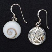Silberohrringe Meeresauge mit Pentagramm - 925...