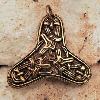 Keltische Brosche - Fibelketten Haltung aus Bronze