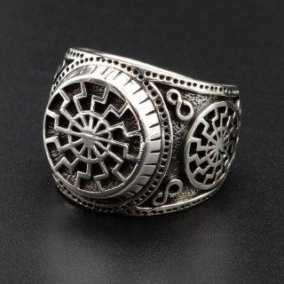 Schwarze Sonne Ring aus 925 Sterling Silber 59 (18,8) / 8,7 US