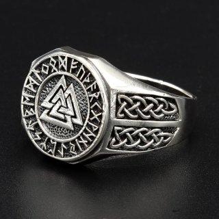 Valknut Ring verziert mit keltischen Knoten aus 925 Sterling Silber 59 (18,8) / 8,7 US