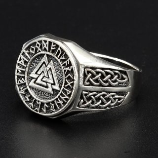 Valknut Ring verziert mit keltischen Knoten aus 925 Sterling Silber 72 (23,0) / 13,9 US