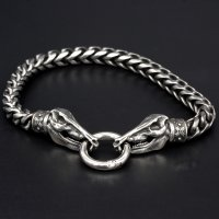 Viking bracelet Hildisvini with clip ring made of...