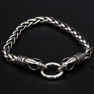 "Wikinger Armkette ""Trjegul"" mit Clipring aus Edelstahl"