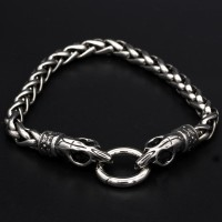 Viking bracelet Trjegul with clip ring made of stainless...