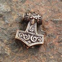"""Viking Thors hammer beard pearl """"AKE"""" made of bronze"""