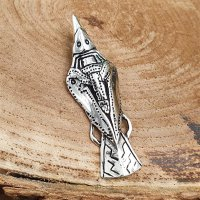Raven jewelry pendant HUGIN made of 925 sterling silver