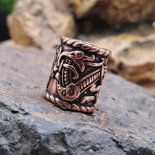 Beard pearl decorated with the midgard snake - made of bronze