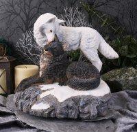 Snow Kisses Wolf Figurine by Lisa Parker - 20.5cm