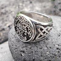 Yggdrasil Ring mit keltische Knoten aus 925 Sterling Silber 67 (21,3) / 11,8 US