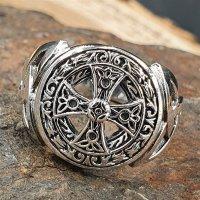 Keltisches Kreuz 925 Sterling Silber Ring Siegelring mit Triquetra 59 (18,8) 8,7 US