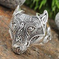 Wolf Ring verziert mit keltische Knoten aus 925 Sterling...
