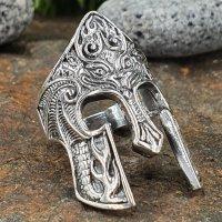 Krieger Helm Ring verziert mit Flammen aus 925 Sterling...