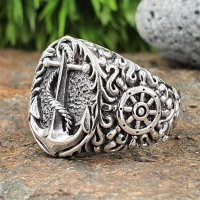 Anker Ring verziert mit Steuerrad aus 925 Sterling Silber