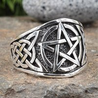 Pentagramm Ring verziert mit keltische Knoten aus 925...
